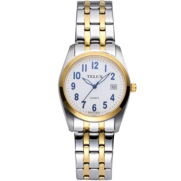 台灣品牌手錶腕錶【TELUX鐵力士】見證系列腕錶手錶31MM台灣製造石英錶7775MTG-W20中金白面數字另有女款