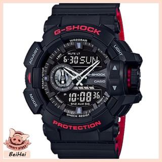 CASIO 卡西歐 G-SHOCK 黑紅 戶外 防水 防震 運動 石英手錶 絕對強悍時重機雙顯錶 GA-400HR