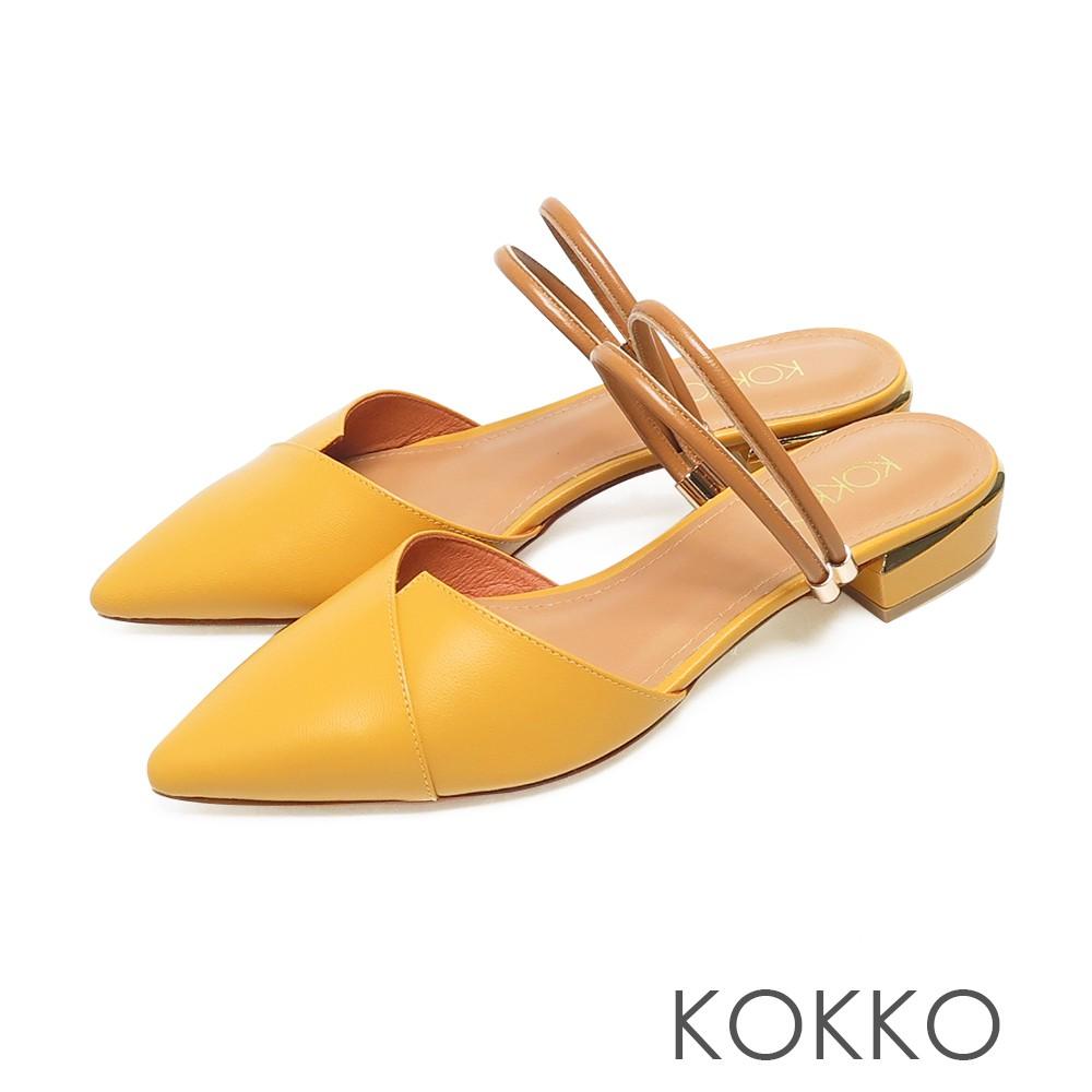 KOKKO經典尖頭小羊皮2way粗跟穆勒拖鞋亮麗黃