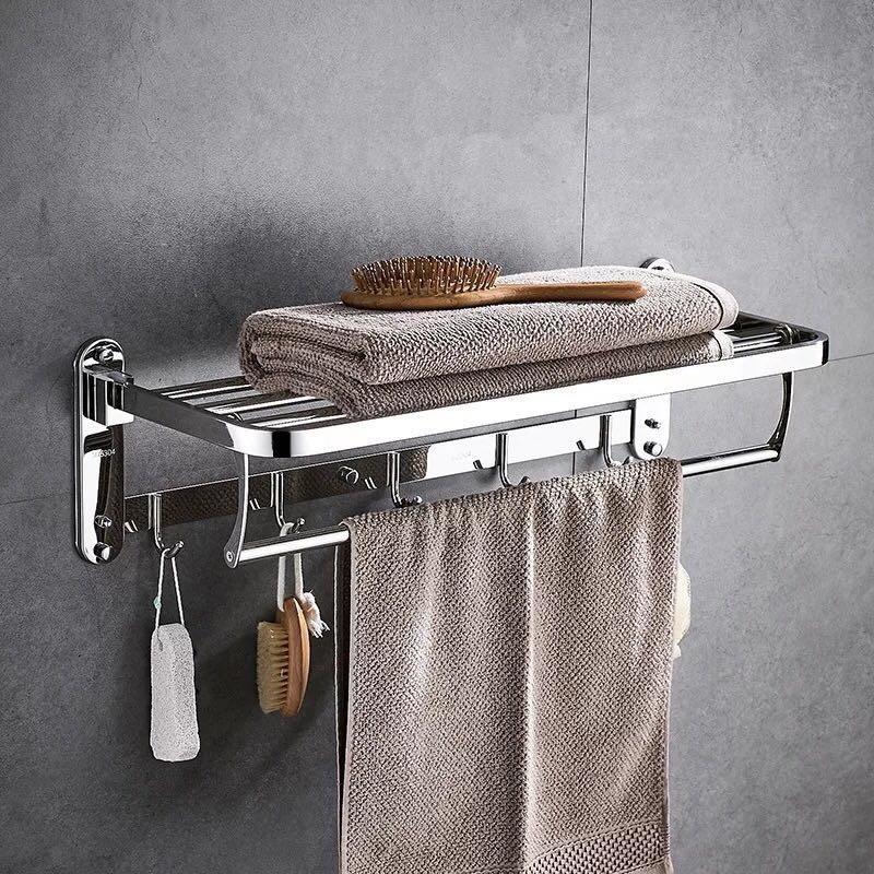 摺疊毛巾架不鏽鋼304拉絲浴巾架衛生間衛浴五金掛件浴室置物架