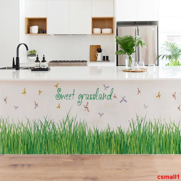 csmall1客廳壁貼 家用墻貼 客廳花草仿真綠葉墻角裝飾踢腳線墻貼紙臥室地角腳線自粘背景貼畫