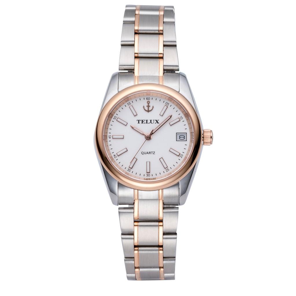 台灣品牌手錶腕錶【TELUX鐵力士】仕女腕錶手錶25mm台灣製造石英錶7010LRG-W15 中金鋼帶白面-另有男款