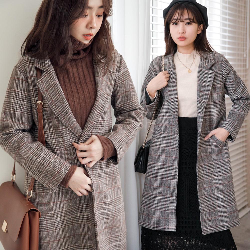 MIUSTAR 翻領斜口袋磨毛線格長版西裝外套(共2色)外套 外套女生 西裝外套 1124 預購【NH3352】