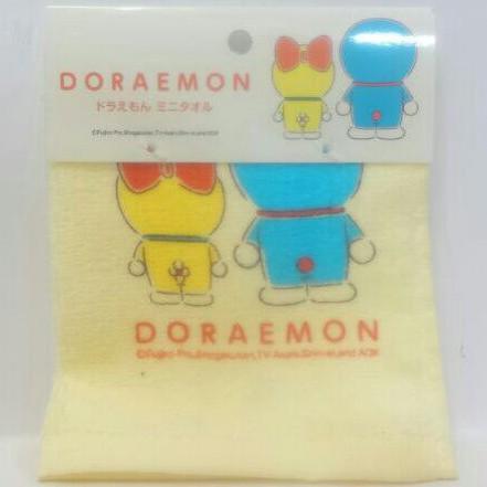 全新 現貨 全新 吊牌未拆封 日本CAN DO X 哆啦a夢與哆啦美 鵝黃色 毛巾布材質 方形手帕