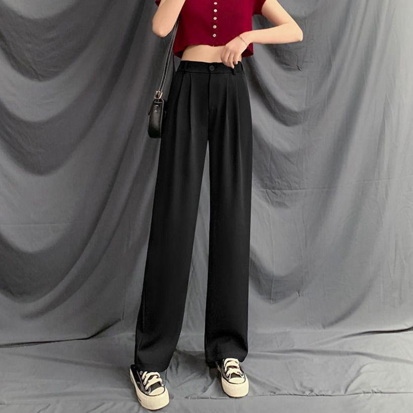 【免運】闊腿褲女 休閒長褲 高腰顯瘦黑色西裝褲 高腰垂感寬褲 直筒寬鬆百搭顯瘦拖地長褲