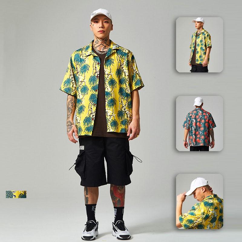 襯衣男潮牌街頭椰樹風滿版印花寬松男士襯衫