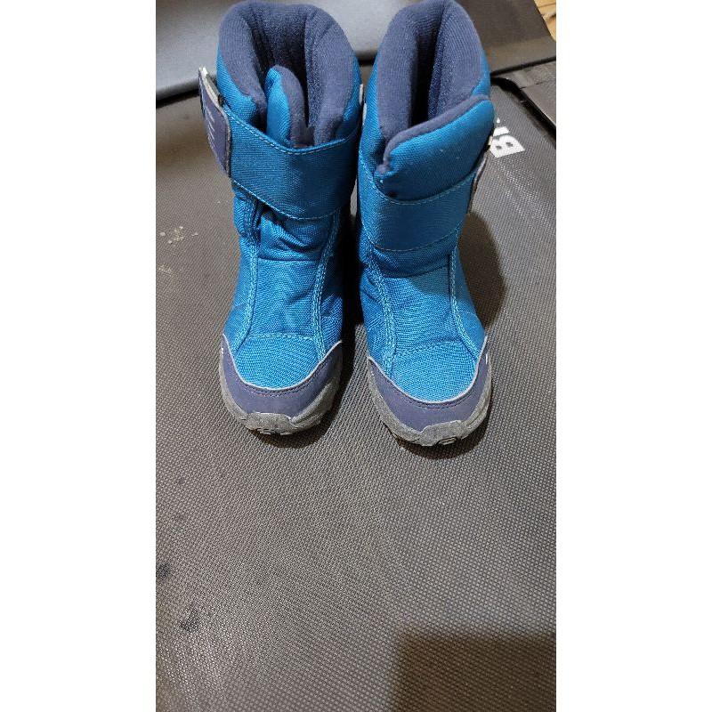 迪卡儂 兒童 雪靴 - 10°C防水防滑登山 雪鞋 (魔鬼氈設計) QUECHUA SH100 藍色 30碼