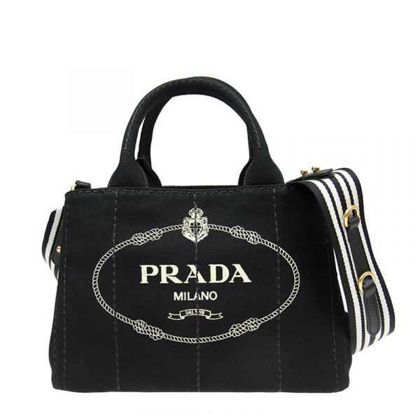 Prada 1BG439 小款厚帆布托特兩用色 黑色