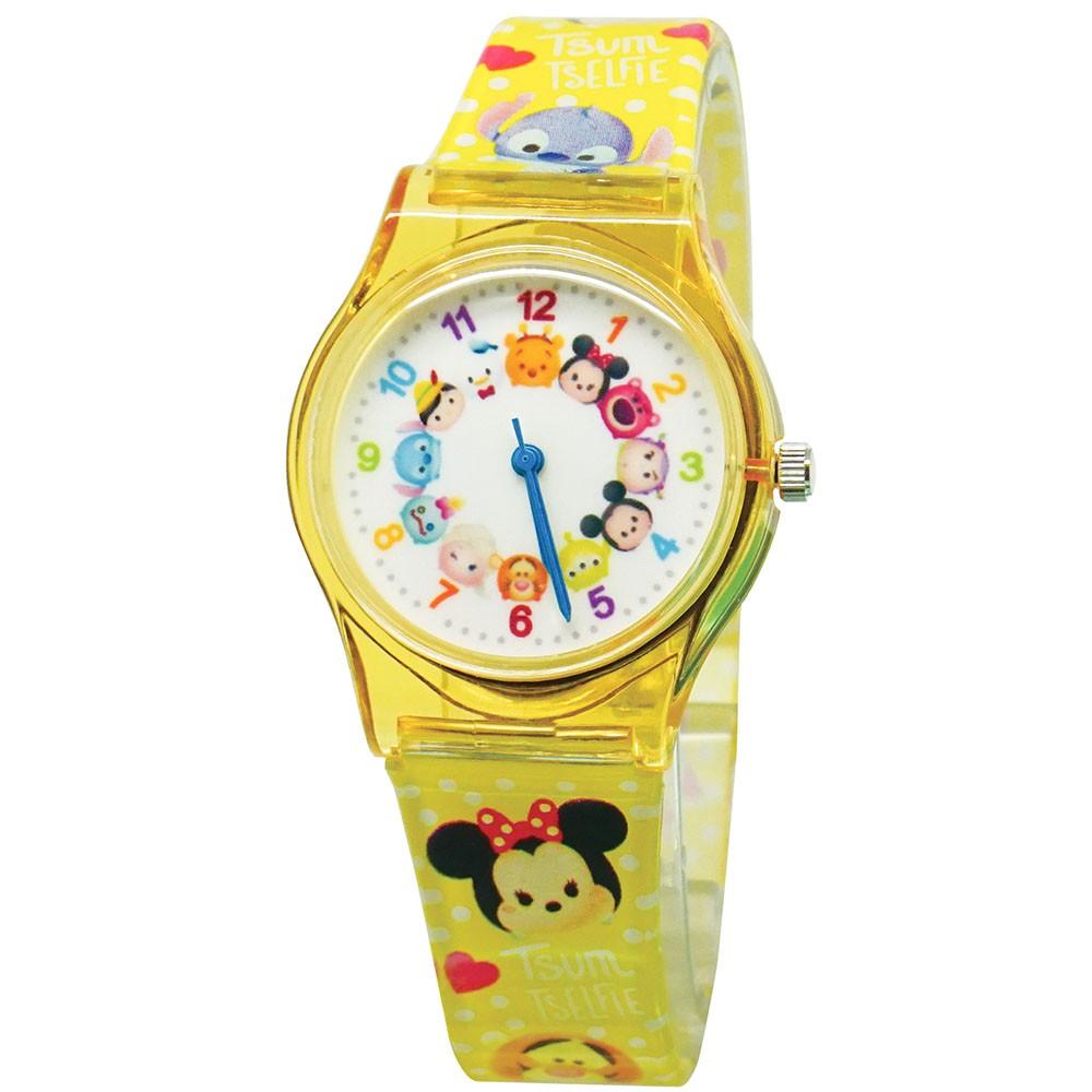 【Disney迪士尼】TSUMTSUM 旋轉派對兒童錶 黃色