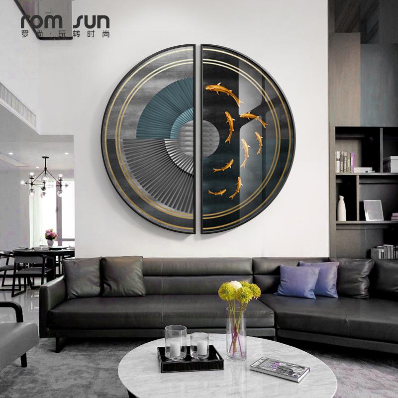 【新品】新中式創意客廳裝飾畫抽象線條魚臥室背景墻掛畫現代簡約玄關壁畫