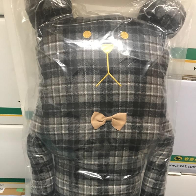 全新未拆日本限定款 小啾啾 宇宙人Craftholic 法蘭絨格紋熊大抱枕