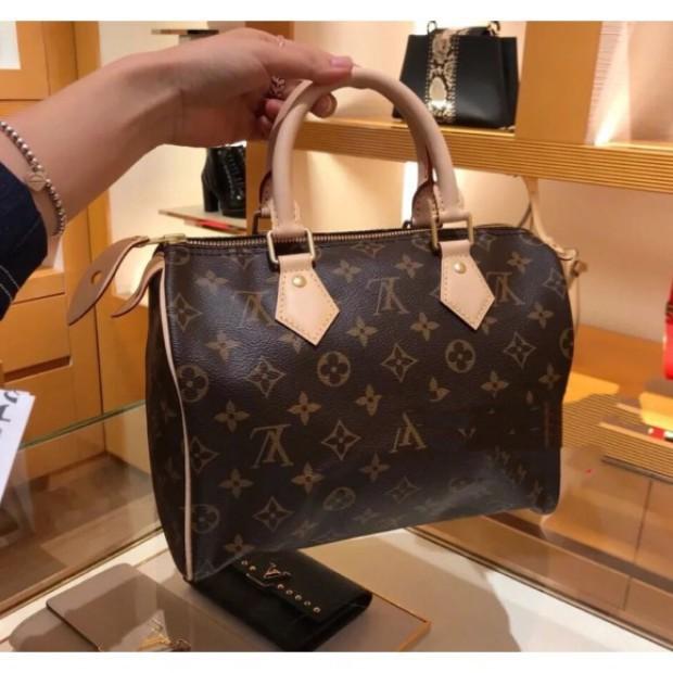 二手 Louis Vuitton LV SPEEDY BANDOULIÈRE 25 附背帶 手提包 M41113 枕頭