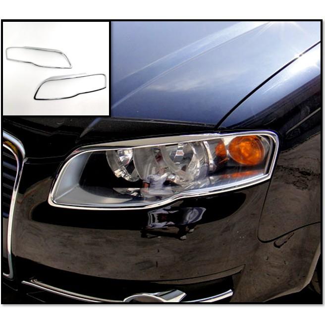 圓夢工廠 Audi 奧迪 A4 B7 2005~2008 改裝 鍍鉻銀 車燈框 前燈框 頭燈框 大燈框 飾貼