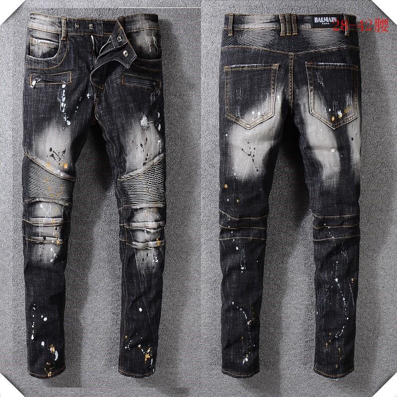 新款Balmain牛仔褲 巴爾曼秋冬水洗手工磨破 破洞牛仔褲 潮流長褲 休閒牛仔褲 時尚牛仔褲45