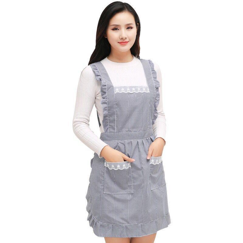 圍裙 ☼ 滿額免運 ☼ 韓版時尚 圍裙 加厚雙層防水 圍腰 可愛罩衣女成人做飯廚房 圍裙tw&banana線上商店