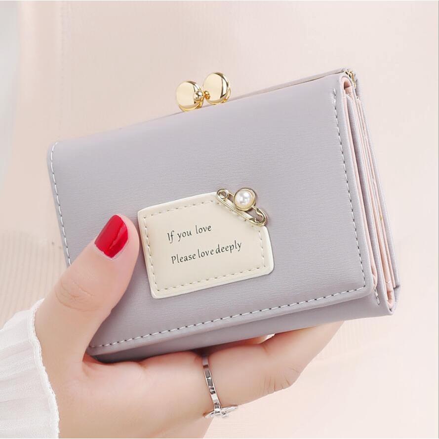 女式錢包零錢包折疊錢包卡夾LWallet高容量錢包女式錢包dompet零錢包女用錢包