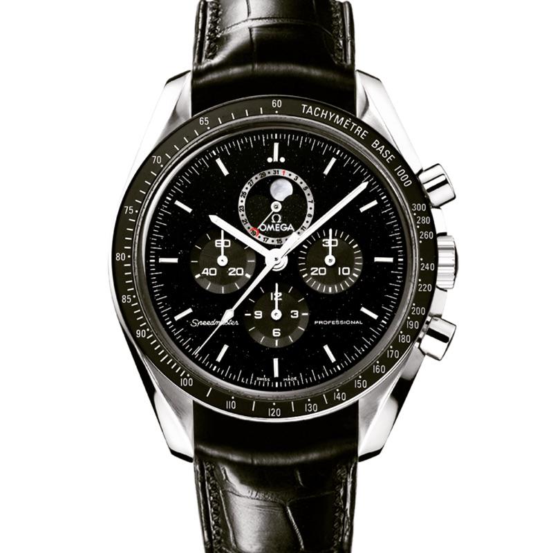 OMEGA 歐米茄 超霸系列  登月錶 專業月相44.25毫米計時腕錶 不鏽鋼錶殼 搭配 皮革錶帶