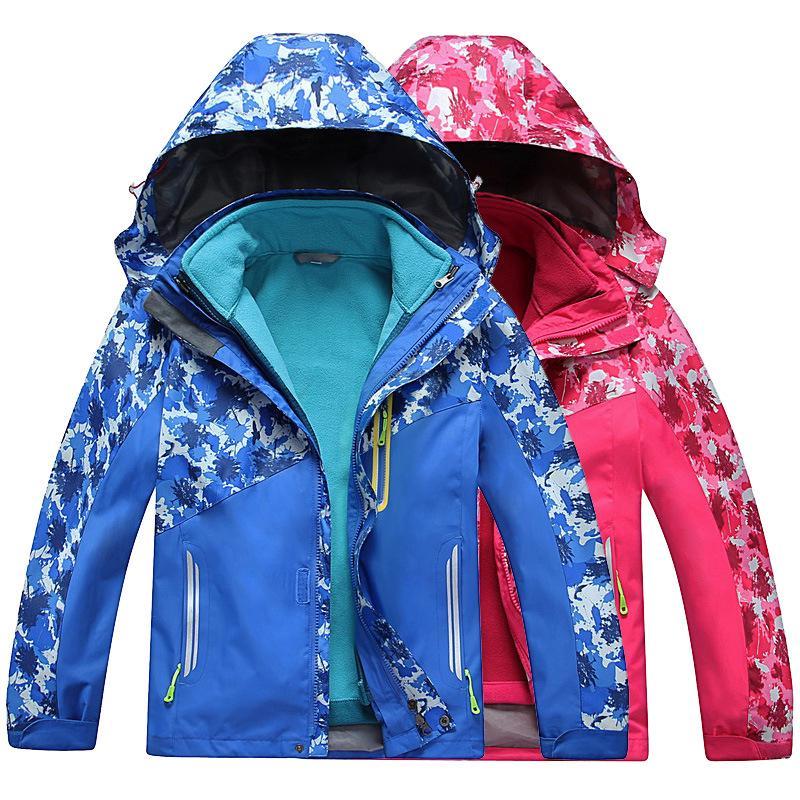 兒童防風防水衝鋒衣男童女童 防潑水 防寒 連帽風衣外套夾克保暖夾克戶外登山服加絨加厚戶外衝鋒衣 運動滑雪 防寒外套