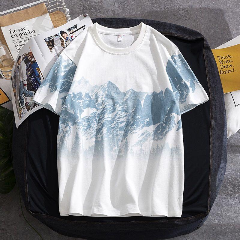 短袖 T恤 短袖上衣 夏天T恤 素t T恤男裝夏季新款破洞假兩件短袖寬松情侶純棉大碼男士半袖衫上衣