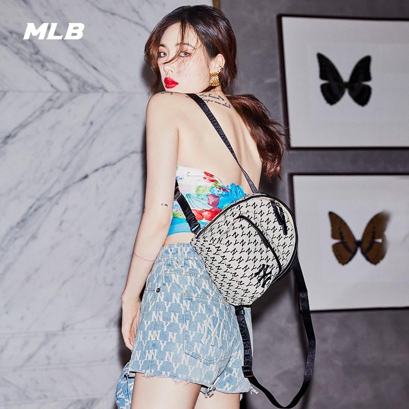 MLB老花系列雙肩包女NY洋基隊印花字母紋迷你背包 32BG09 黑色白標NY 後背包韓國 正韓後背包 女生包包