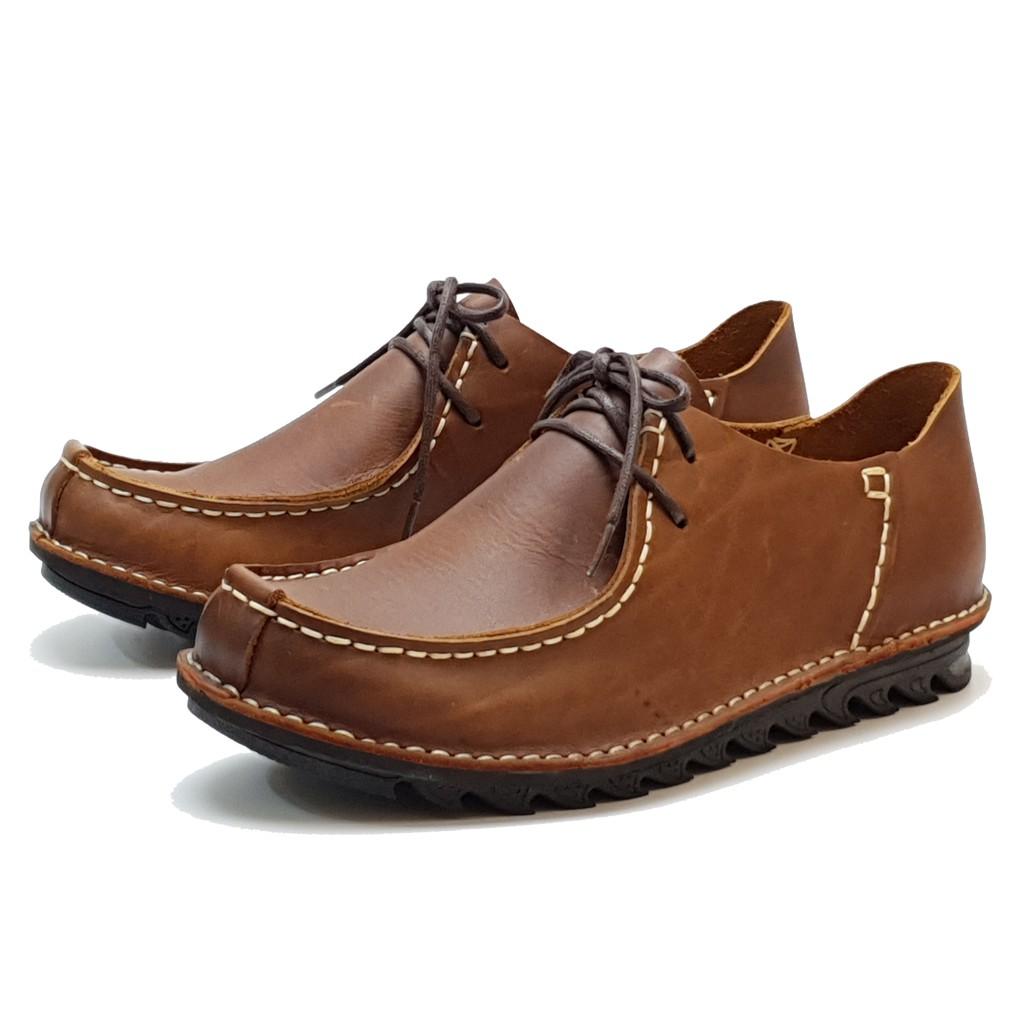 MIT真皮男鞋 休閒鞋 手工 寬楦 - 男繫帶袋鼠鞋-棕
