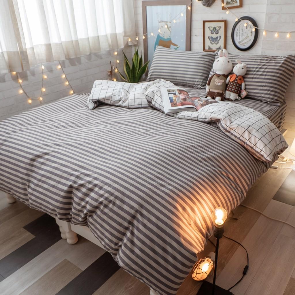 線條兒 床包組 四季磨毛布 北歐風 台灣製造 棉床本舖