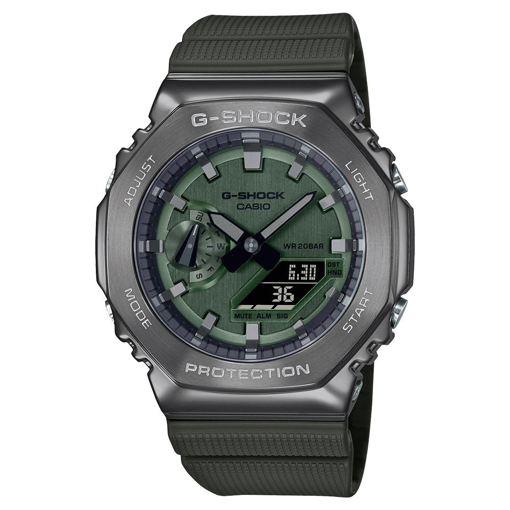 CASIO卡西歐 G-SHOCK 沉穩灰綠 金屬錶殼 八角形錶殼 GM-2100B-3A_44.4mm  小AP