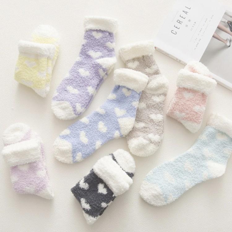 愛心翻口珊瑚绒地板襪加厚中筒襪子