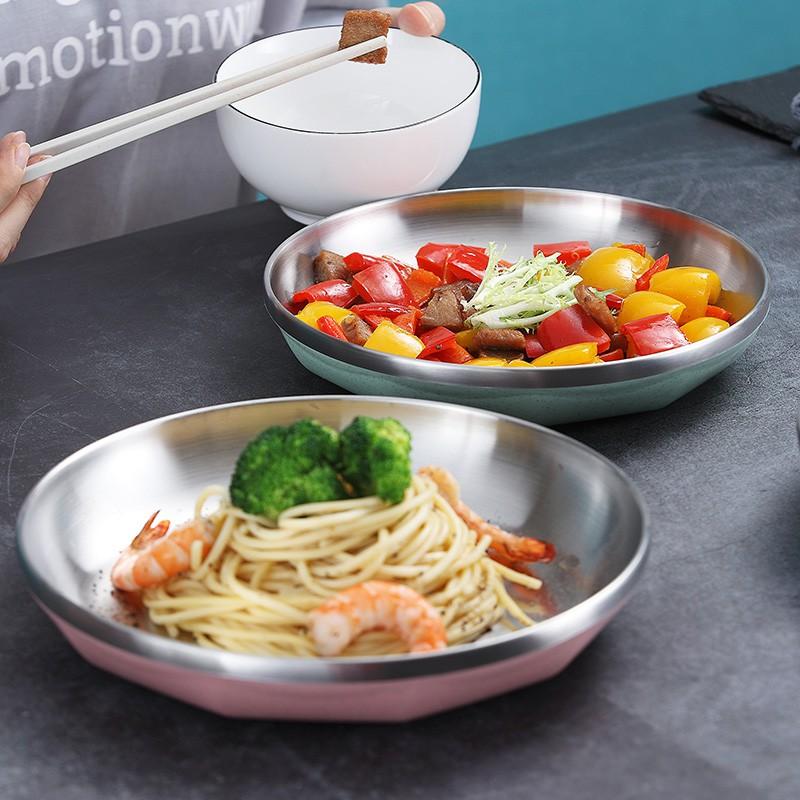 點記【現貨】304不鏽鋼盤子 露營盤子 托盤 菜盤家用 料理盤子 圓盤 水果盤 碟子 餐具 雙層隔熱防燙