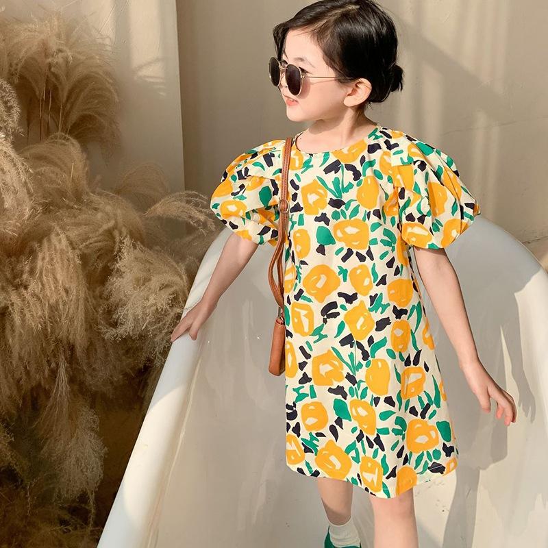 女童韓版文藝風甜美泡泡袖碎花連衣裙 兒童夏季新款碎花洋裝 裙子【IU貝嬰屋】