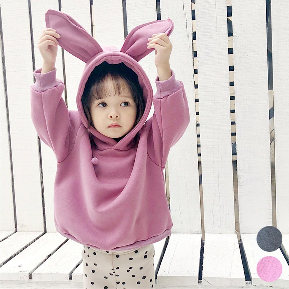 兔耳朵棉絨連帽長袖上衣 棉絨 長袖上衣 連帽上衣 女童 橘魔法【p0061198286878】