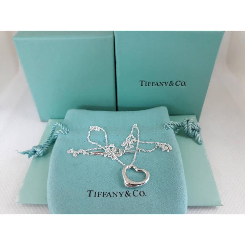 TIFFANY&CO 純銀鑽石愛心造型項鍊 925純銀 鑽石項鍊