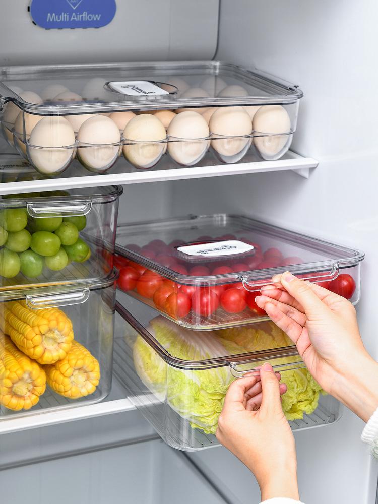 【首爾印象W】分隔果蔬瀝水保鮮盒 帶蓋透氣水果蔬菜冷藏盒 PET冰箱收納盒帶透氣閥雞蛋盒果蔬儲物塑料保鮮盒