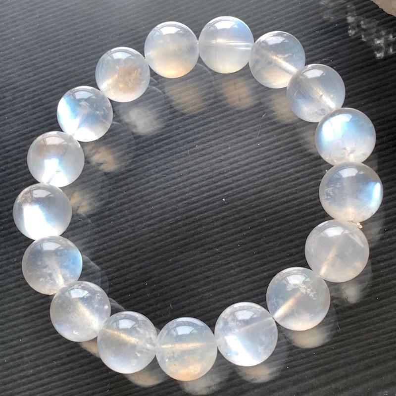 小極品-奶油體高透顆顆珍珠貝藍白光藍月光石12mm(單圈)手珠手鍊DIY串珠隔珠配珠•點點水晶•