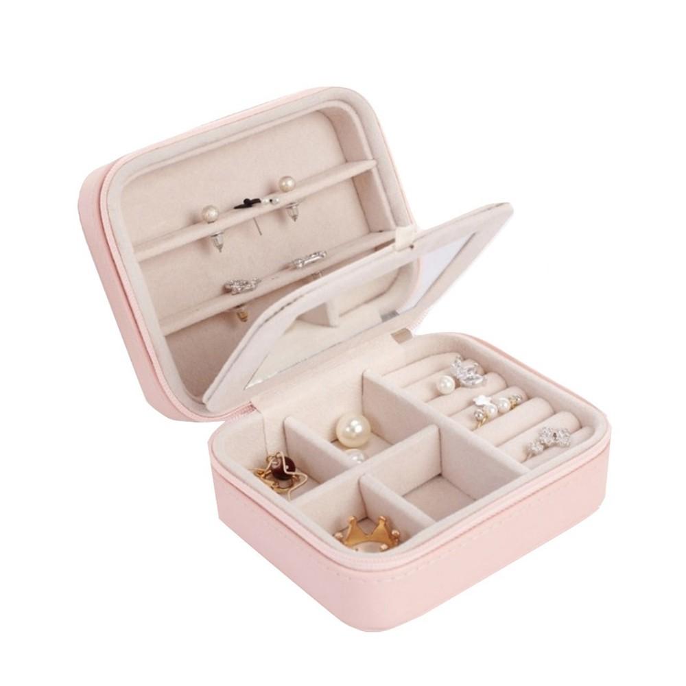 雙層便攜方形首飾盒  粉色 蝦皮24h