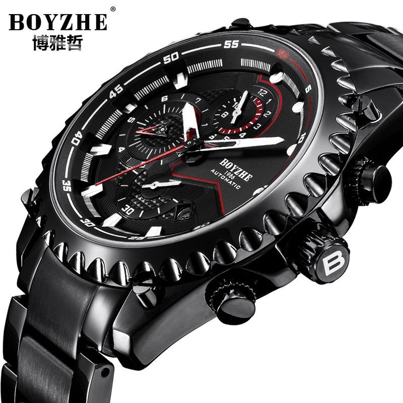 BOYZHE品牌男士手錶時尚商務手錶多功能夜光防水大日曆機械表WL022