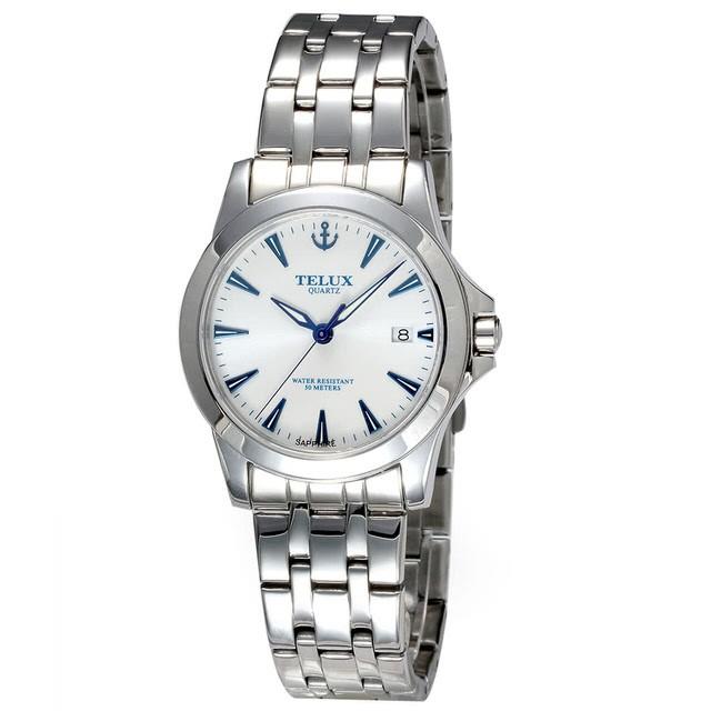 [缺貨中]台灣品牌手錶腕錶【TELUX鐵力士】皇家爵士系列男腕錶手錶38MM台灣製造石英錶7925MW-W13白面藍釘