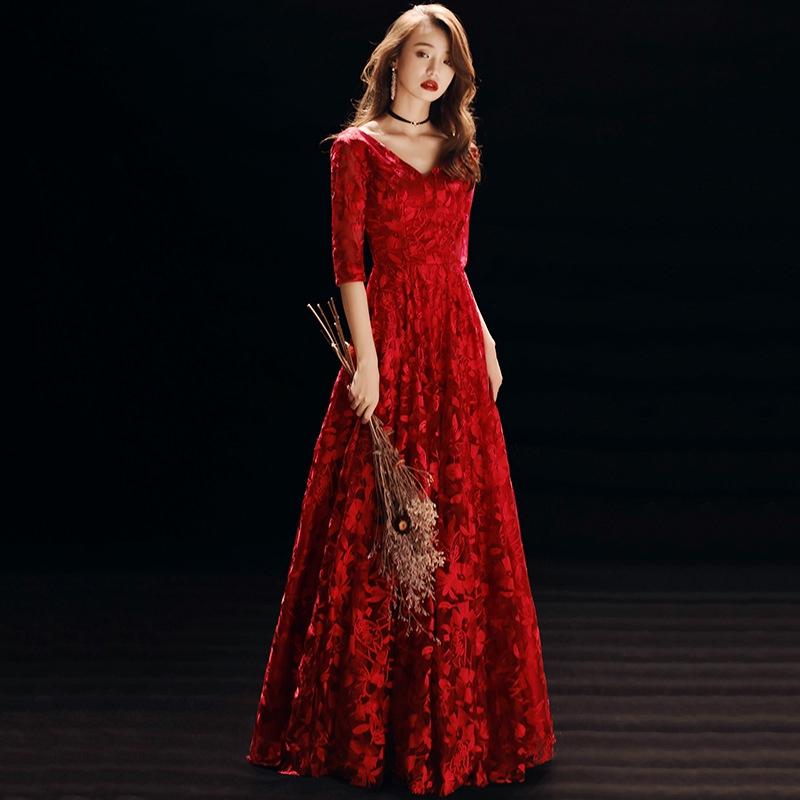 可訂製🔥酒紅色 一字領 畢業 禮服 裙 晚禮服 敬酒服 晚宴服 宴會服 長禮服 表演服 洋裝 大尺碼 敬酒服