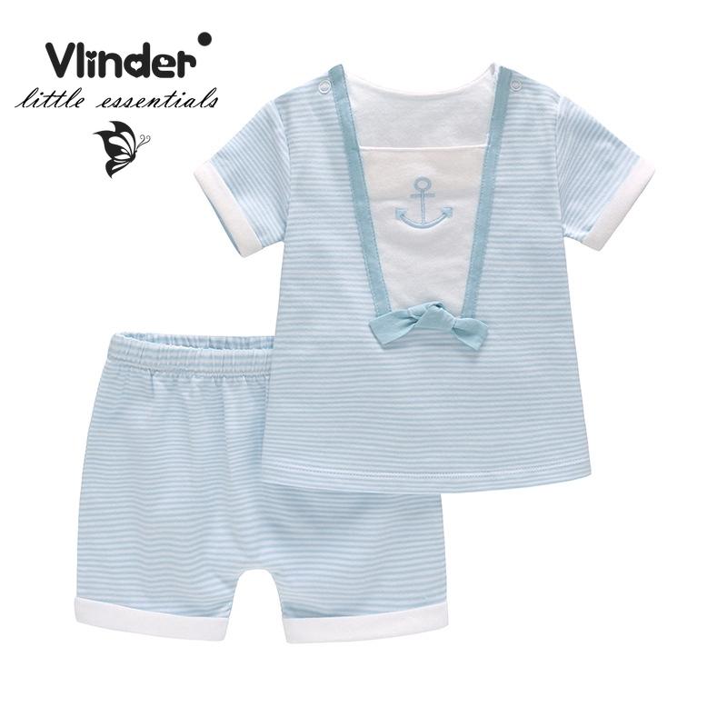 Vlinder童裝男女寶寶藍色條紋錨短袖T卹褲子兩件套純棉舒適
