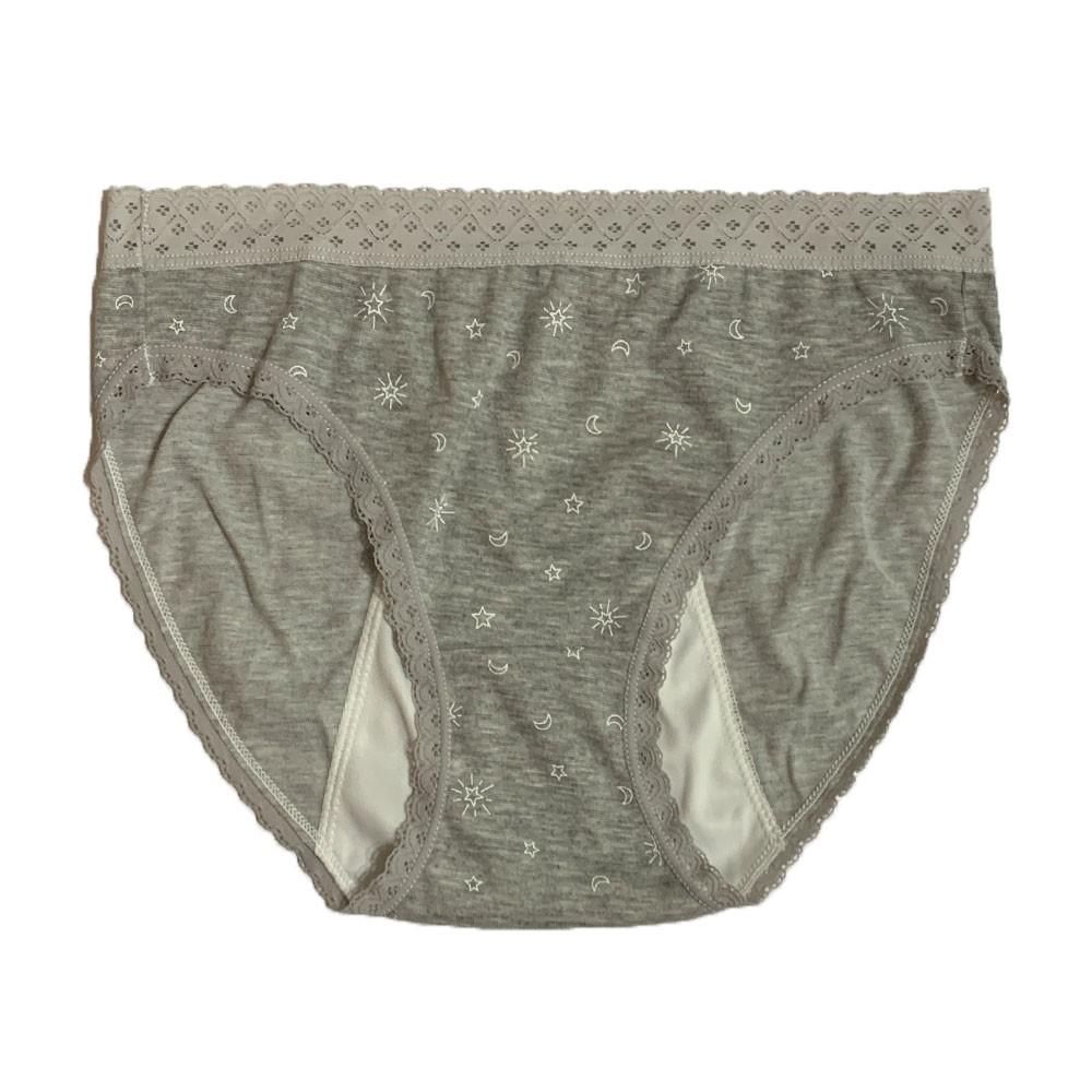 【MatchShop】台灣製日月蕾絲中腰高叉生理褲-深灰