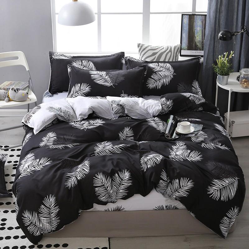 【現貨】床包四件組 雙人/加大雙人床包四件組 單人床包組 被罩被單組床單組薄被套枕頭套枕套被單4件組 黑白葉子葉語翩翩