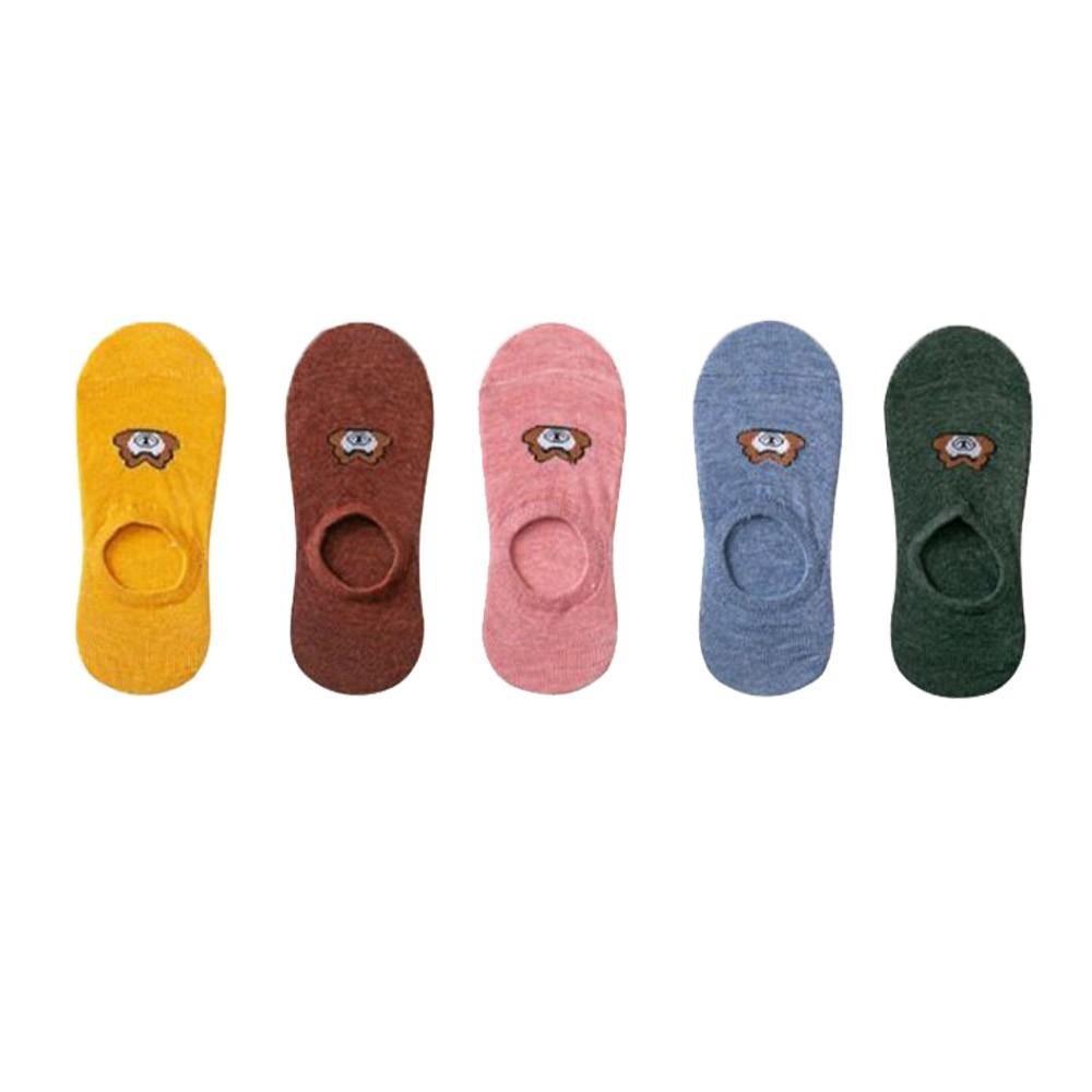 繽紛馬卡龍色小熊休閒隱形襪5入組-顏色隨機出貨