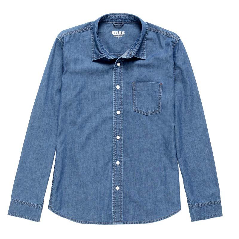 【ERSS】休閒牛仔長袖襯衫 - 男 石洗藍 K30007