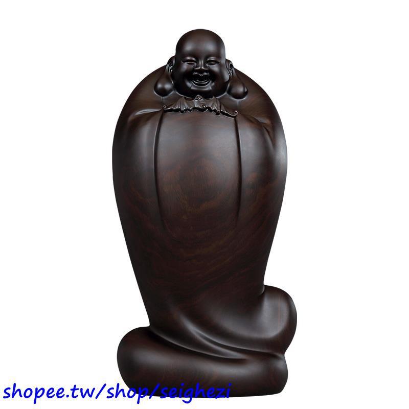 #精選【熱銷】黃泉福大師 著名作品 皆大歡喜五福彌勒佛黑檀木雕擺件收藏藝術品