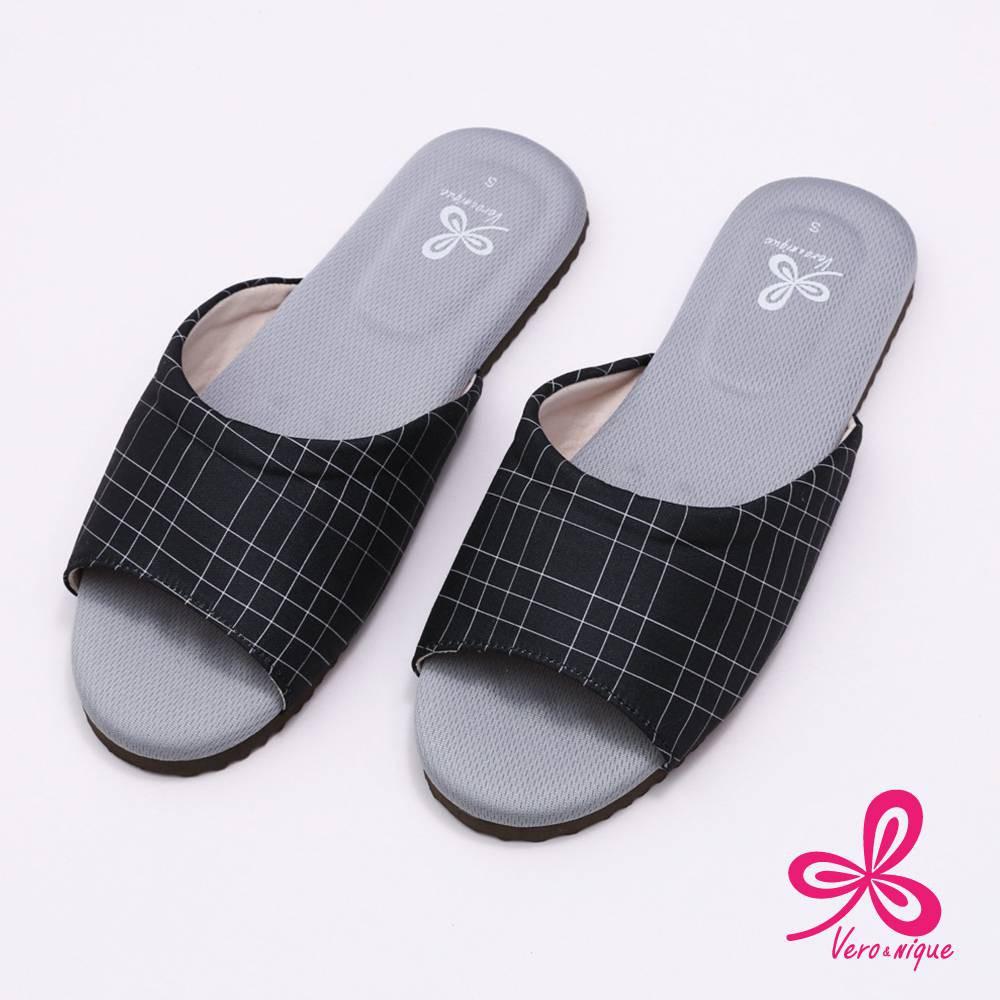 維諾妮卡 96022生活品味乳膠室內拖鞋-黑L
