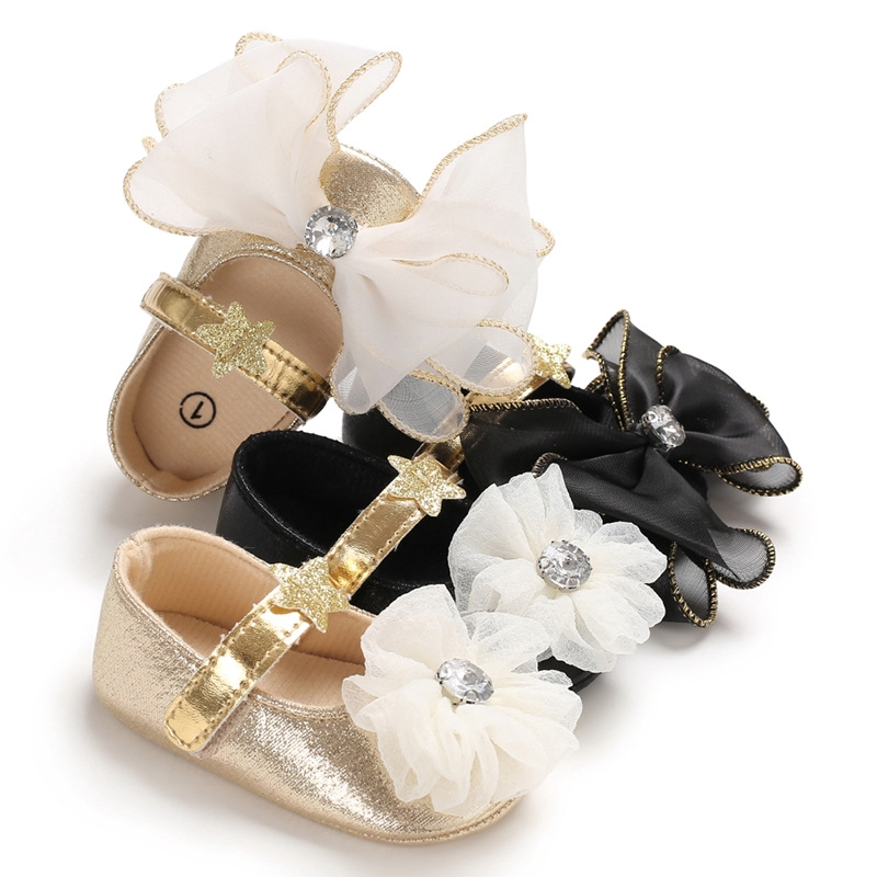 0-1歲春秋女寶寶蝴蝶結膠底防滑公主鞋嬰兒學步鞋