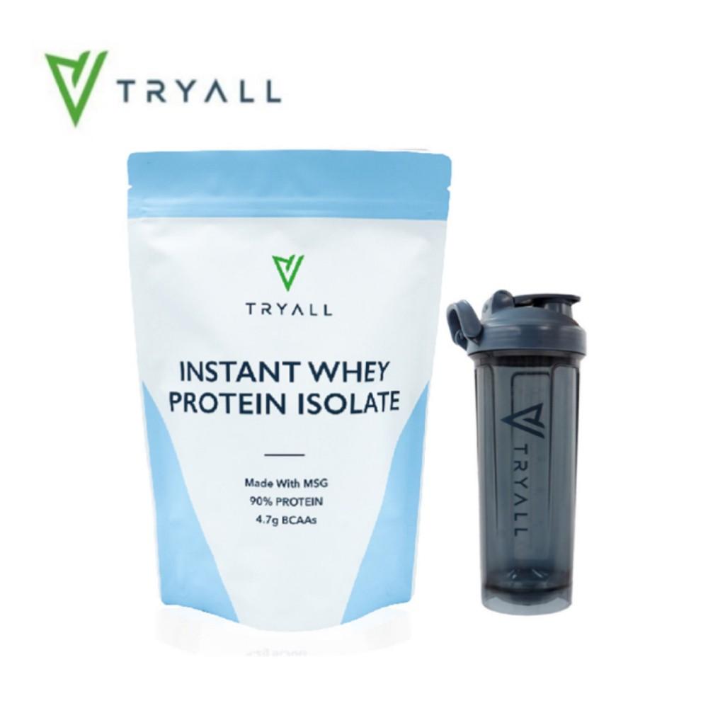 Tryall 無添加分離乳清蛋白(MSG分裝) (500g/袋)+[台灣 Tryall] Tritan U底搖搖杯