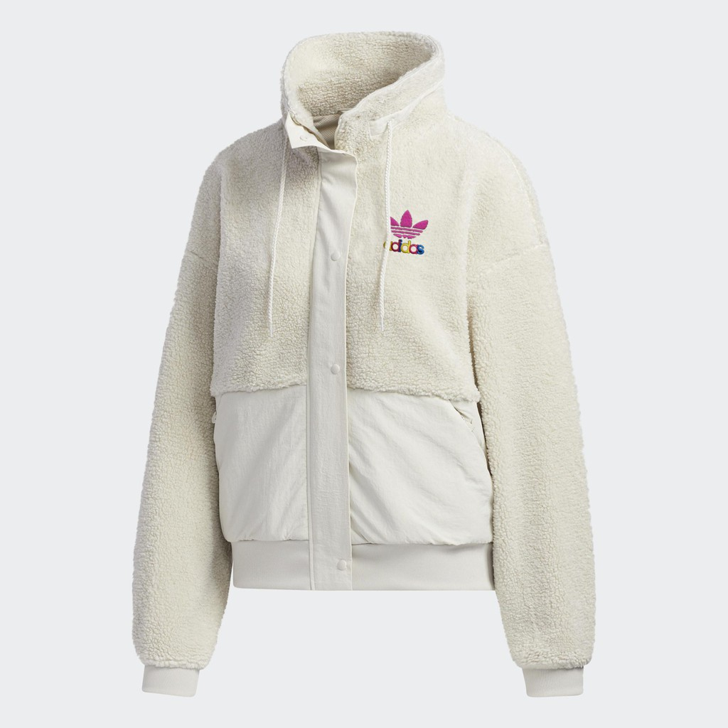 Adidas Originals Short Sherpa 灰白 彩虹Logo 拼接毛毛外套 GV2933 DOT聚點