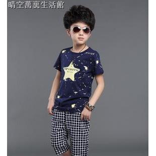 ஐ┋2019夏季新款兒童裝男童 休閑套裝童裝中大童格子短褲男孩兩件套
