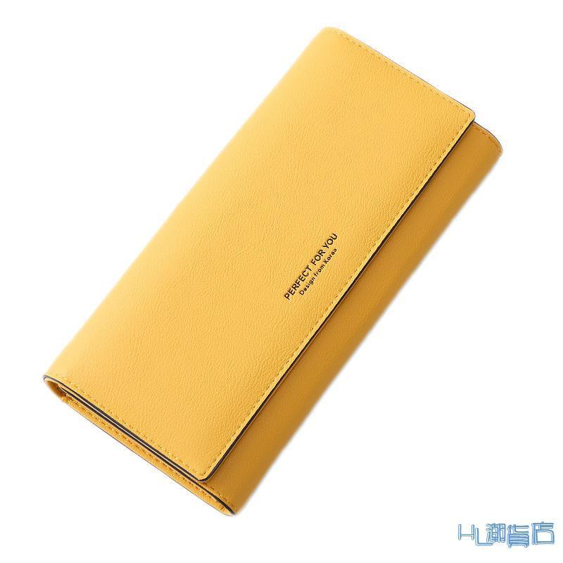 長皮夾(女)卡包黃色錢包招財手機包2020新款女士長款日韓版簡約時尚搭扣女式『HL260』